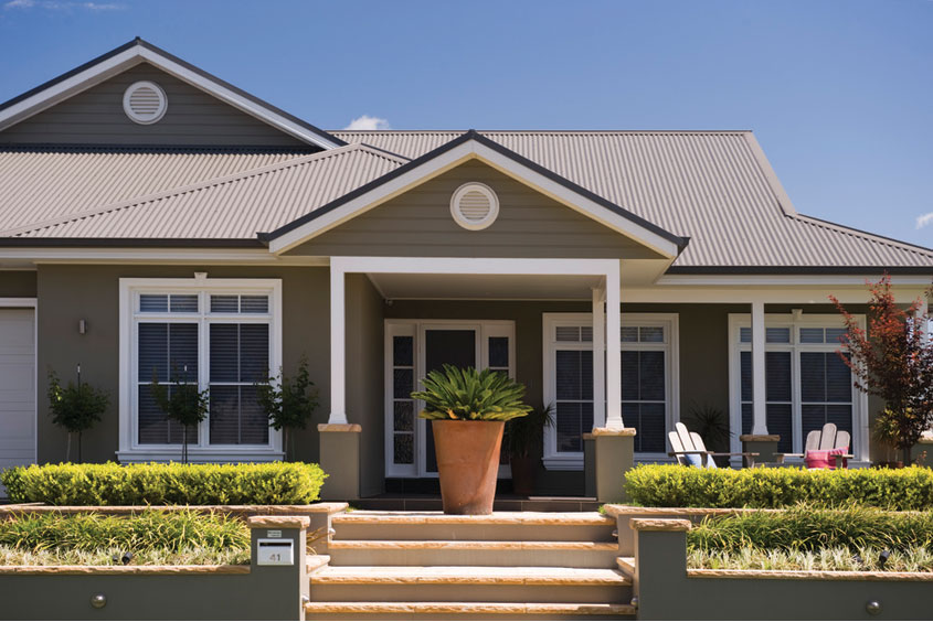 Residential roof with colorbond roof sheeting