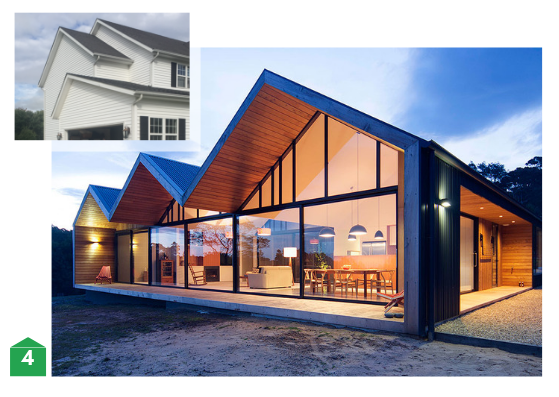 Common gable end style roof compare with contemporary update on gable style roof