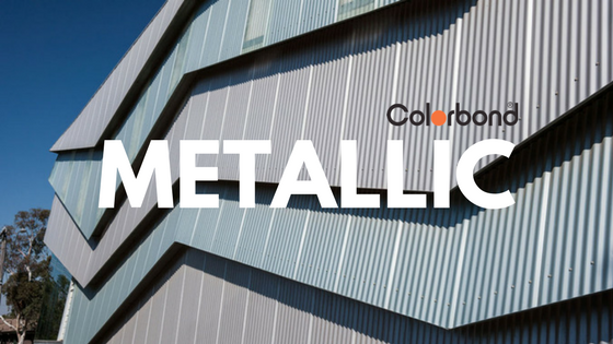 Colorbond metallic wall cladding with logo