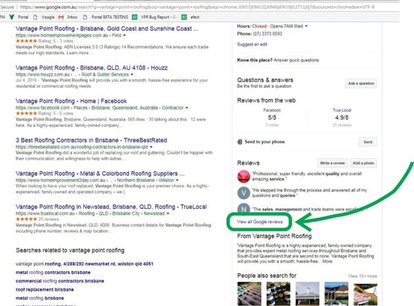 Screenshot of Vantage Point Roofing Google listing
