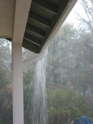 Overflowing gutters during downpour