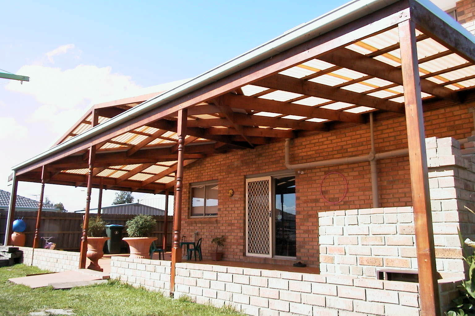 Outdoor patio on residential home using translucent roof sheeting