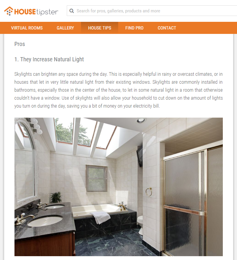 Screenshot from article on HOUSEtipster blog - skylights in bathroom.