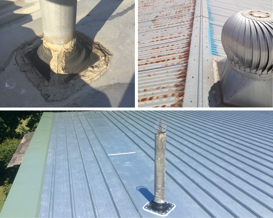 Examples of roof penetrations - vent pipes and whirly birds