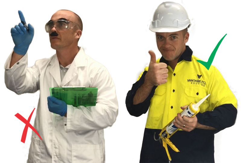 Video still: VPR director dressed as scientist with red cross over, and dressed as roof plumber with green tick over