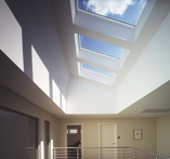Interior view of skylights in roof of home