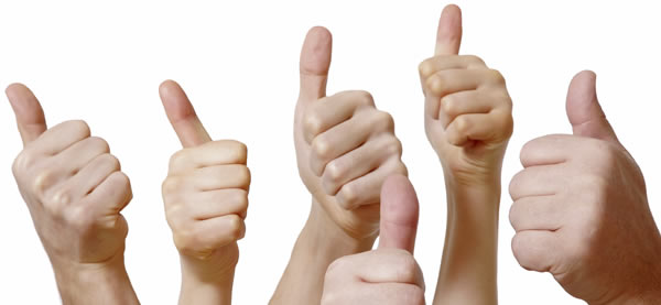 Multiple hands giving thumbs up